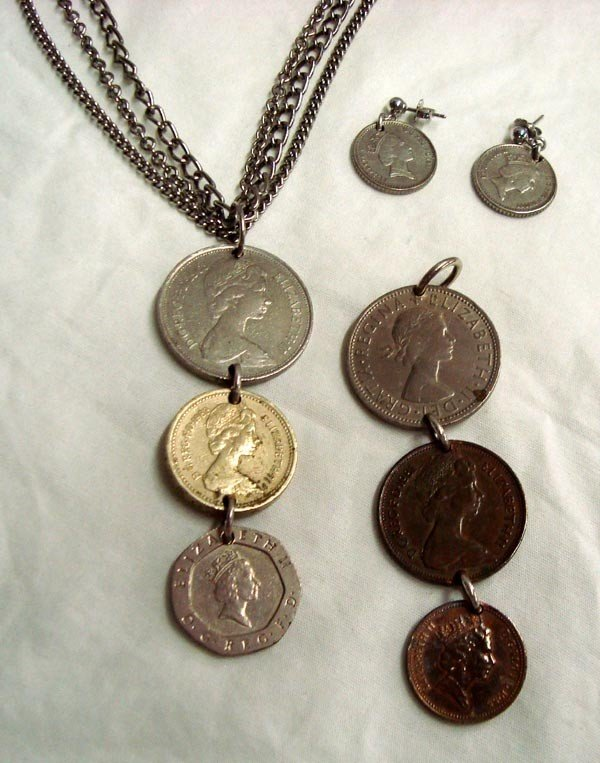 English Coins Sterling Necklace and Earring Set