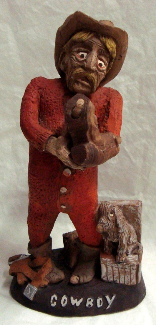 Original Handcrafted Cowboy Figure, J. Vincent