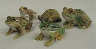 Carved and Painted Wooden Frogs Tortise