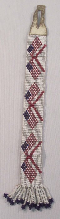 Vintage Sioux Beaded USA Flag Watch Fob