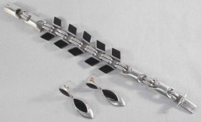 Mexican Sterling Onyx Bracelet And Earrings