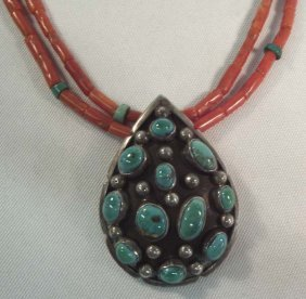 Navajo Sterling Coral Turquoise Pendant Necklace