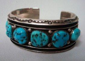 Navajo Silver Turquoise Cuff Bracelet - Touchine