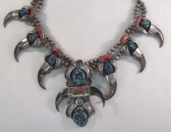 Navajo Silver Turquoise Squash Necklace - Kaysu