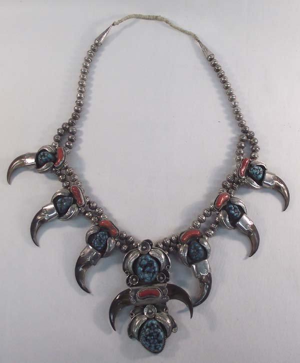 Navajo Silver Turquoise Squash Necklace - Kaysu - 2
