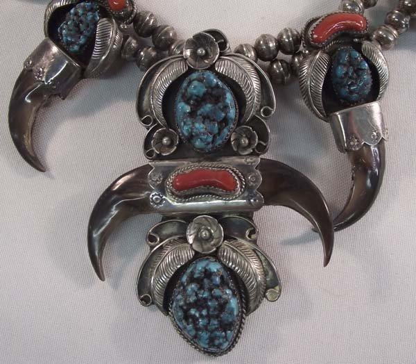 Navajo Silver Turquoise Squash Necklace - Kaysu - 3