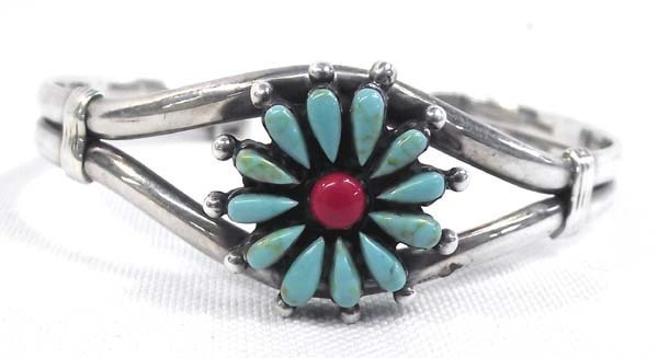 Zuni  Sterling Silver Turquoise Coral Bracelet - 2