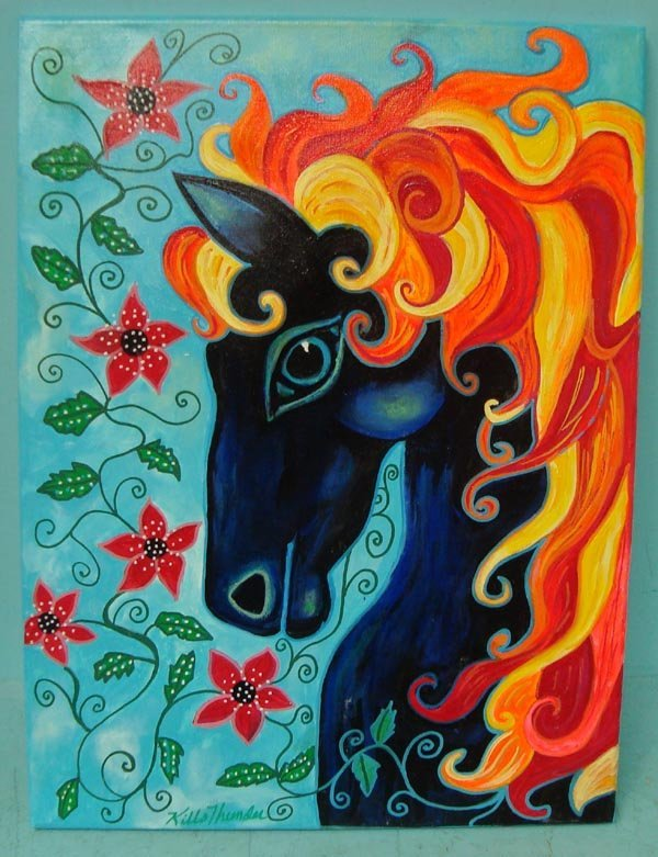 Original Acrylic on Canvas Painting-Kills Thunder
