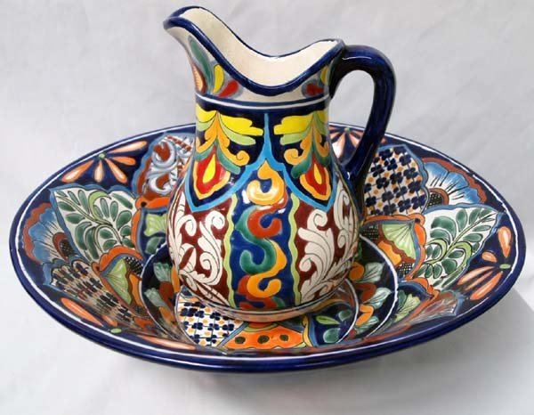 Mexican Talavera Hand Painted Large Pitcher & Bowl