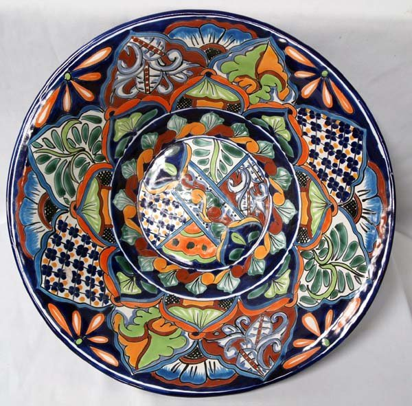 Mexican Talavera Hand Painted Large Pitcher & Bowl - 2