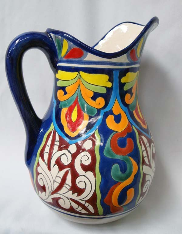 Mexican Talavera Hand Painted Large Pitcher & Bowl - 3