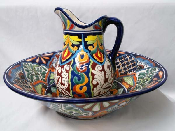 Mexican Talavera Hand Painted Large Pitcher & Bowl - 6