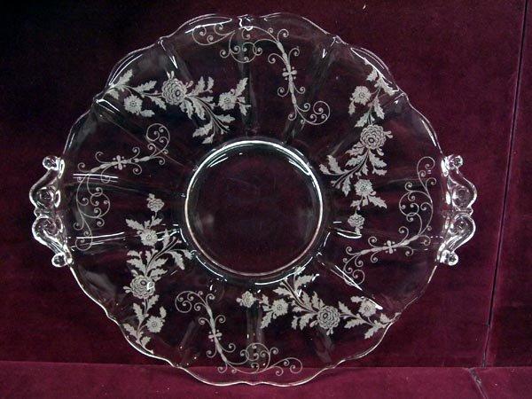Cambridge Glass - ''Elaine'' Tab Handled Cake Plate