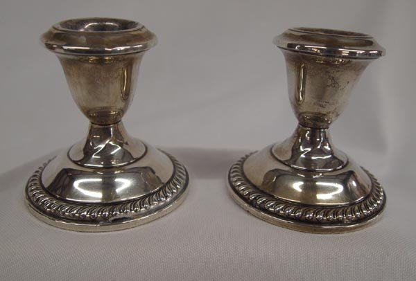 2 Empire Sterling Silver Candle Sticks