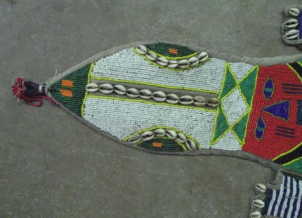 Vintage African Hand Beaded Alligator Wall Hanging - 2