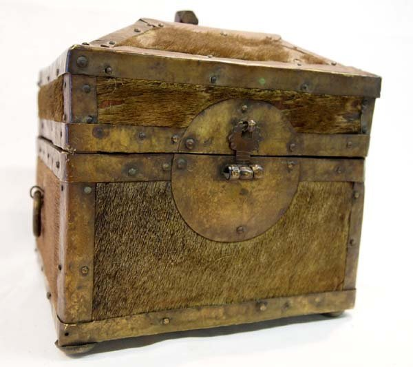 Antique Treasure Box Brass Cowhide Wood