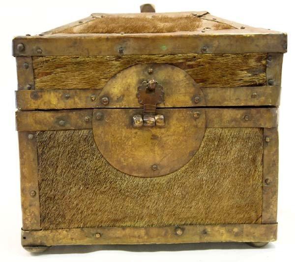 Antique Treasure Box Brass Cowhide Wood - 2