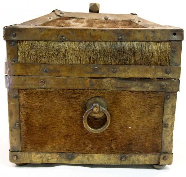 Antique Treasure Box Brass Cowhide Wood - 3