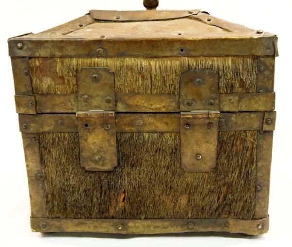 Antique Treasure Box Brass Cowhide Wood - 4