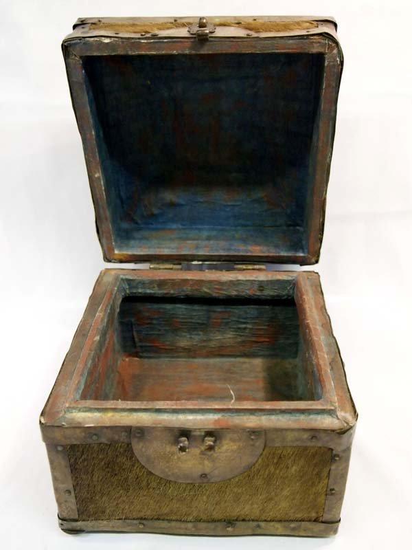 Antique Treasure Box Brass Cowhide Wood - 5