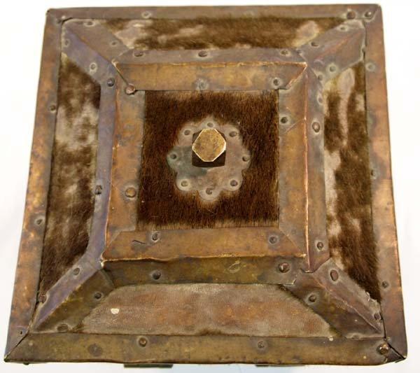 Antique Treasure Box Brass Cowhide Wood - 6