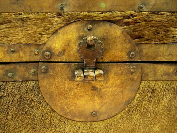 Antique Treasure Box Brass Cowhide Wood - 7