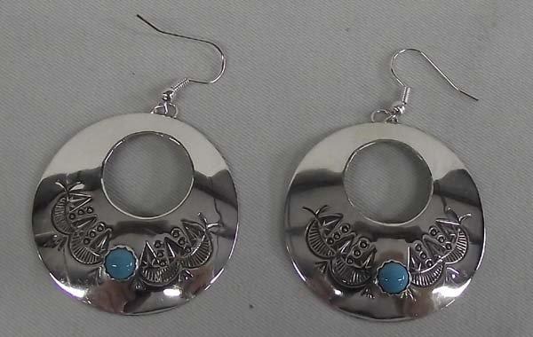 Navajo Sterling Turquoise Earrings - Blackgoat