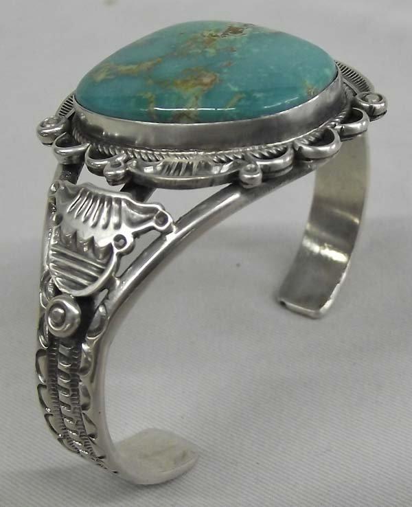 Navajo Sterling Nevada Turquoise Bracelet - R. Tom
