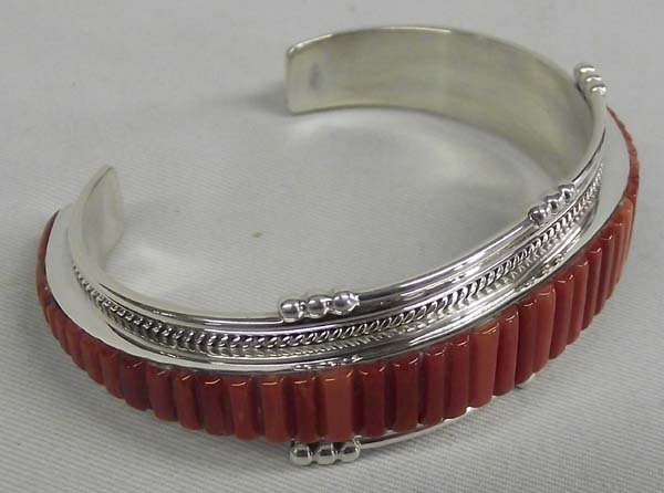 Navajo Sterling Red Shell Bracelet - Douglas