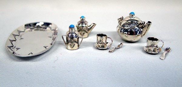 Navajo Sterling Miniature Tea Set - E. Whitman