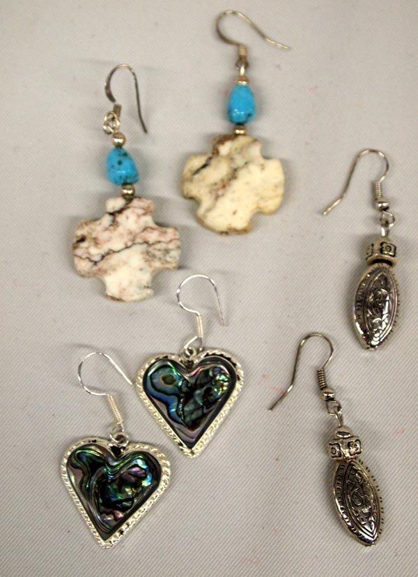 3 Abalone Sterling Turquoise Pierced Earrings