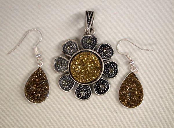 Gold Druzy Marcasite Earrings & Pendant
