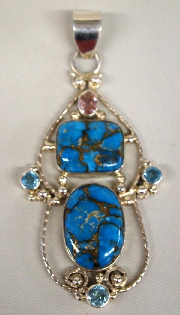 Sterling Turquoise Kunzite Aquamarine Pendant