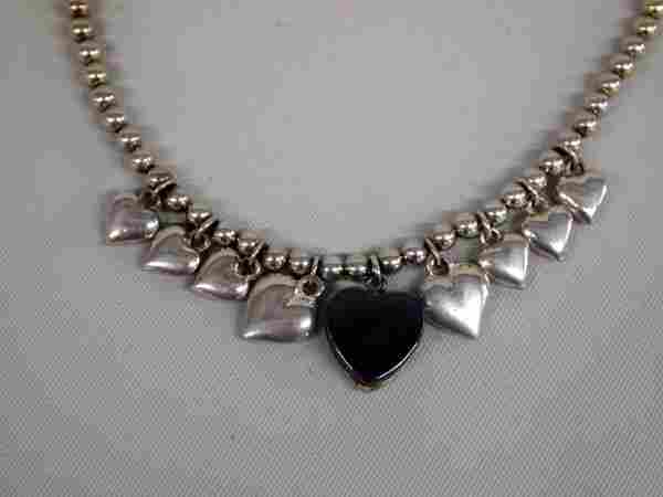 Sterling Silver Reversible Heart Necklace