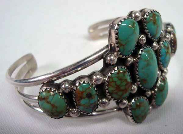 Navajo Sterling Nevada Turquoise Bracelet-Bennett