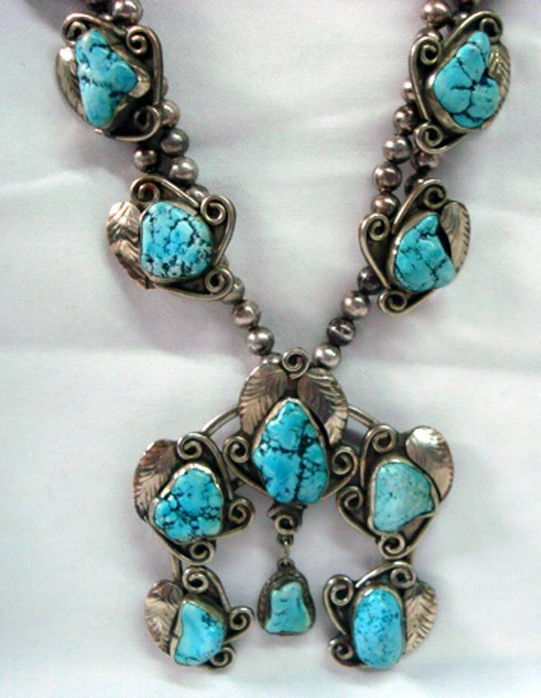 1950 Navajo Sterling Turquoise Squash Blossom