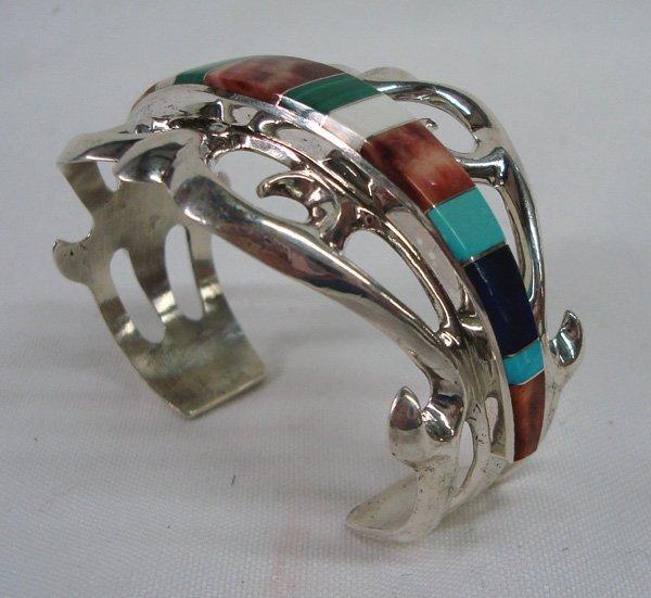 Navajo Sand Cast Inlay Bracelet