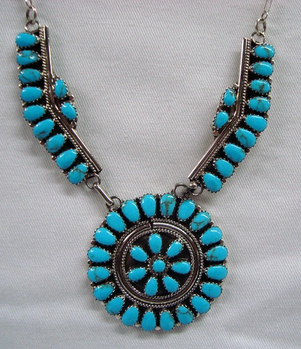 Zuni Sterling Turquoise Petit Point Necklace