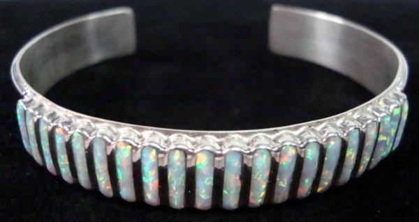 Zuni Sterling Opal Channel Inlay Bracelet