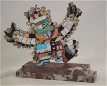 Zuni Inlay Eagle Dance Pin/Pendant - E. Martinez