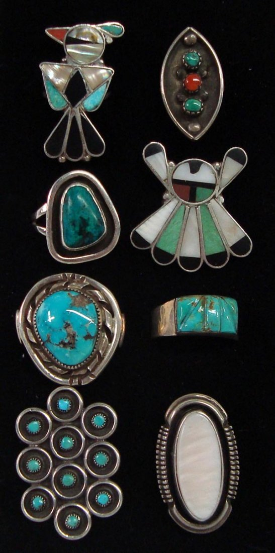 Collection of 8 Navajo and Zuni Rings
