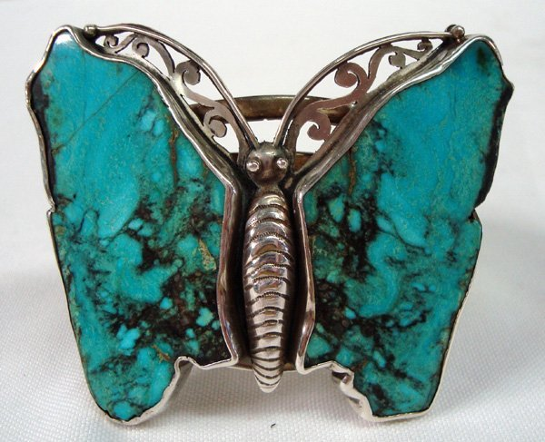 Large Navajo Sterling Turquoise Butterfly Bracelet