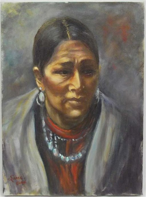 Original Oil Painting Indian Woman Louise Oien