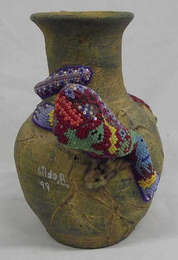 Mexican Huichol Indian Pottery Jar w/Beaded Lizard