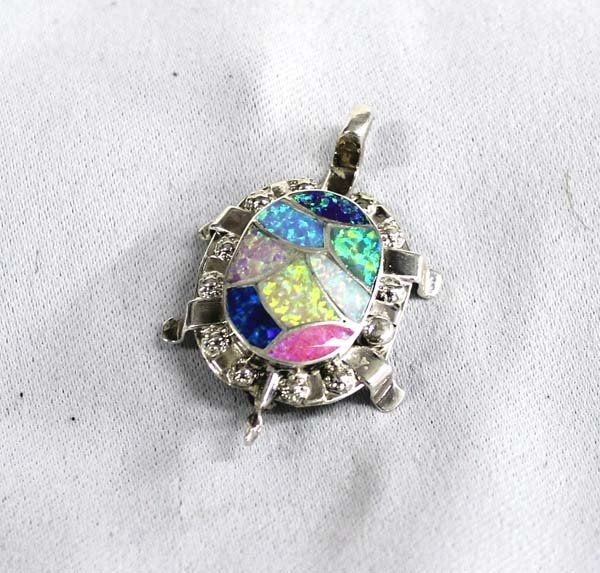 Zuni Sterling Inlay Opal Turtle Pin Pendant by Haloo