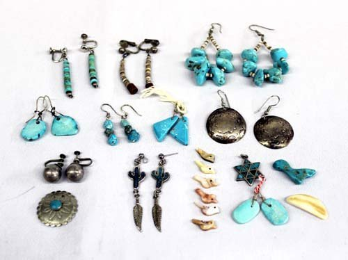 Navajo Sterling Turquoise Earrings Plus QTY 11