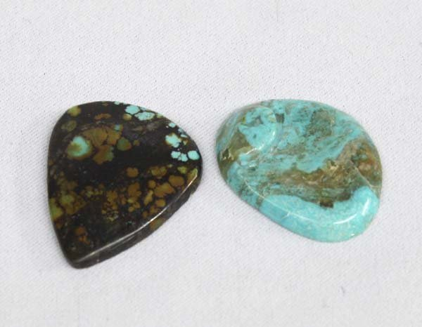 Pair Turquoise Polished Cabochons