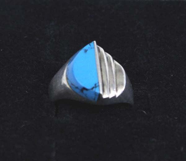Turquoise Howlite Sterling Ring Size 14