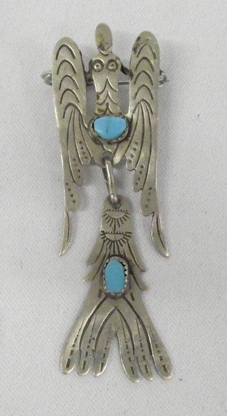 Kiowa American Church Water Bird Sterling  Pin
