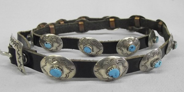 Navajo Sterling Concho Turquoise Nugget Hat Band